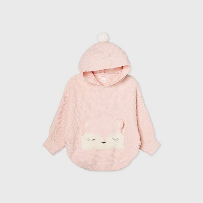 Toddler Girls' Fox Poncho Pullover Sweater - Cat & Jack™ Blush Pink