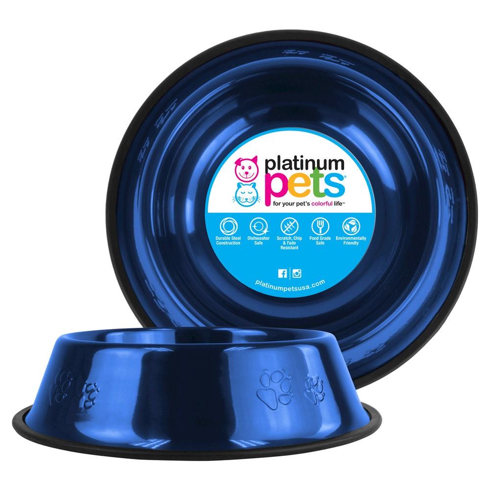 Platinum Pets Embossed Non-Tip Cat/Dog Bowl - Sapphire Blue - 3.5 Cup