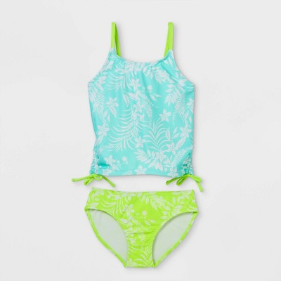 Girls' Tropical Flower Print Tankini Set - Cat & Jack™ Blue/Green