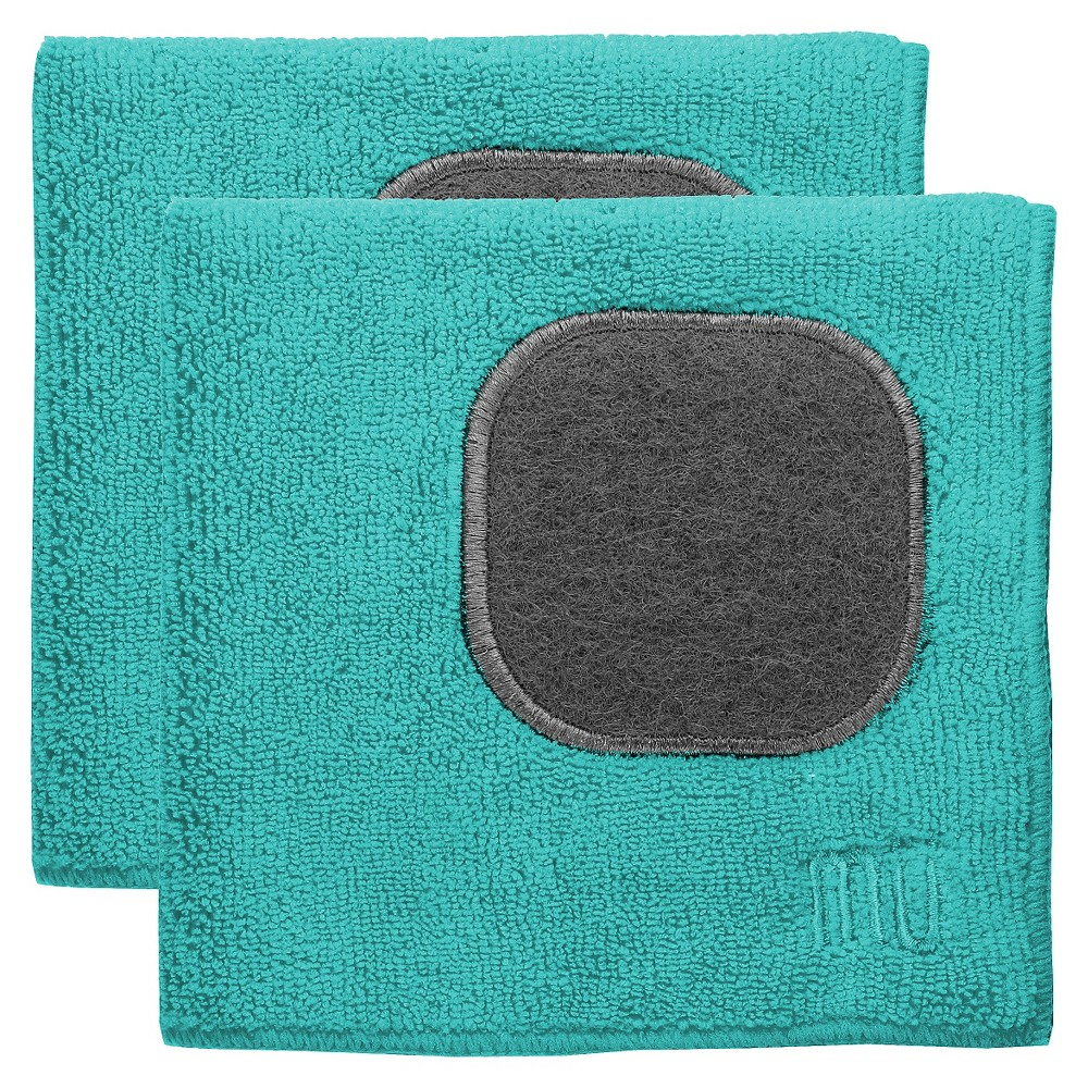 """Image of """"12""""""""X12"""""""" 2pk Microfiber Dish Cloth With Scrubber Turquoise - Mu Kitchen"""""""