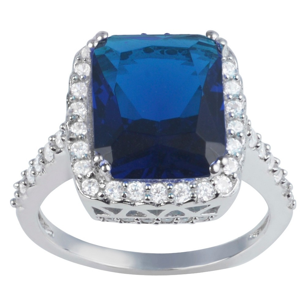 2 7/8 CT. T.W. Princess-Cut CZ Basket Set Halo Engagement Ring in Sterling Silver - Blue, 7, Girl's