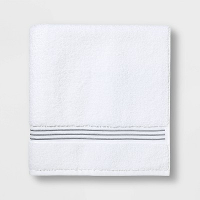 Spa Bath Towel Light Gray Stripe - Threshold Signature™