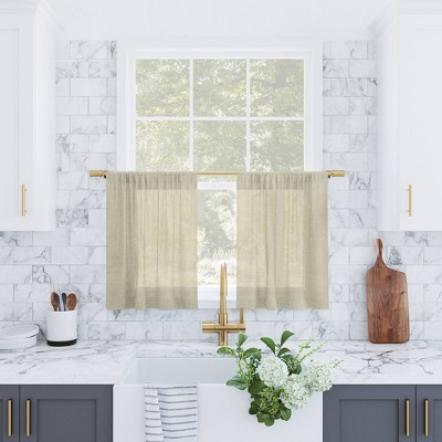 Set of 2 Slub Textured Linen Blend Cafe Curtain Tiers - Archaeo