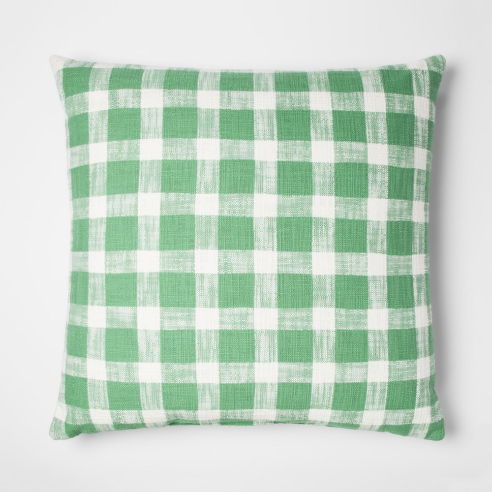 Green Gingham Oversize Square Throw Pillow - Threshold