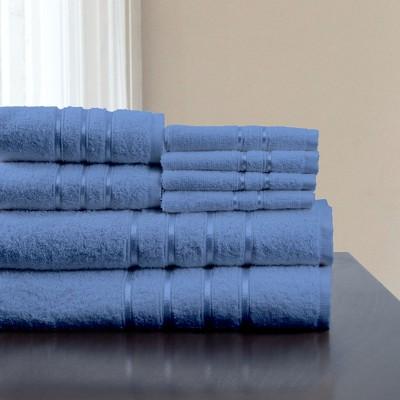 8pc Plush Cotton Bath Towels Set Blue - Yorkshire Home