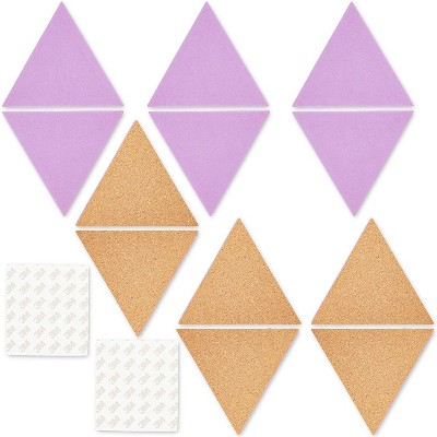 Paper Junkie 12-Pack Double-Sided Triangle Cork Boards Bulletin Boards Wall Decor