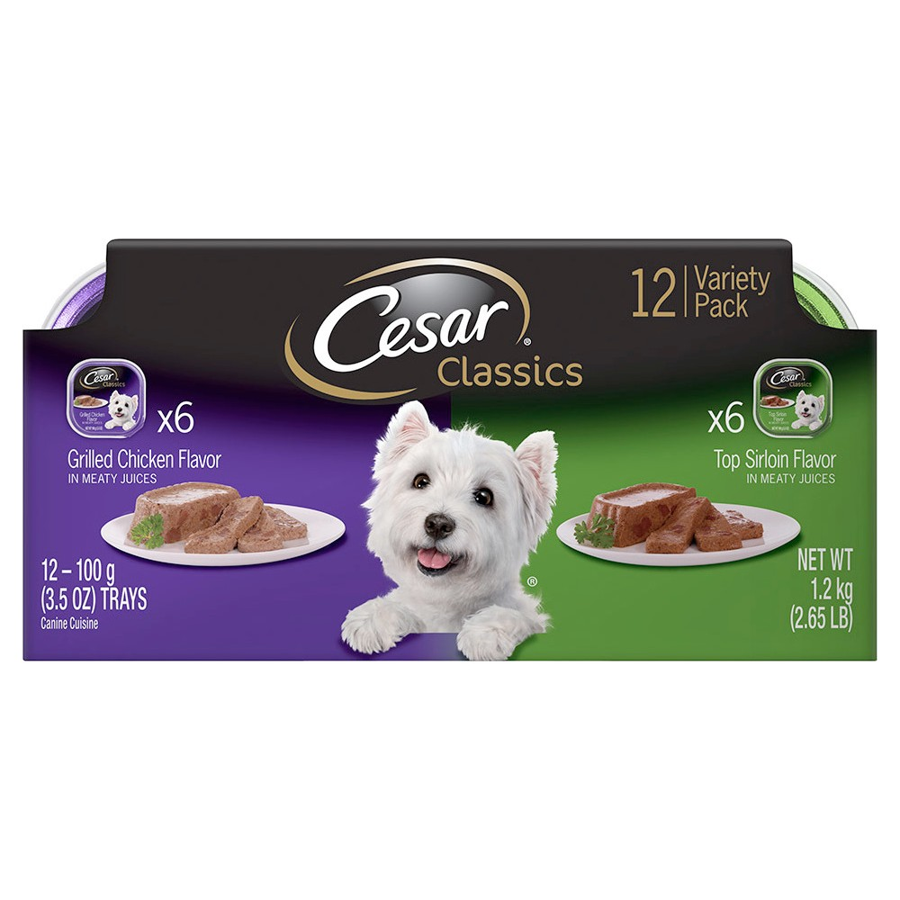 Cesar Canine Cuisine Top Sirloin & Grilled Chicken Variety Pack Wet Dog Food - 12ct, Buff Beige