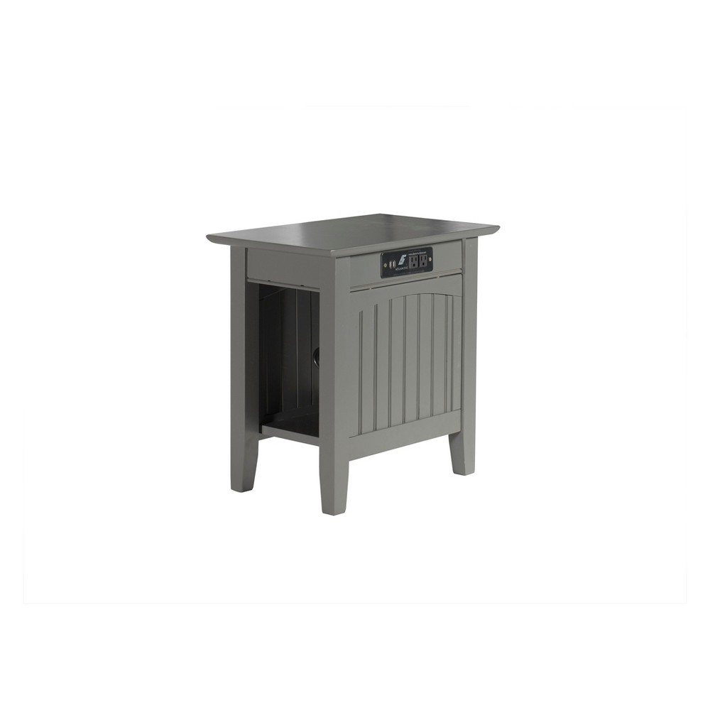 Image of Atlantic Furniture Nantucket Chair Side Table with Charger Gray