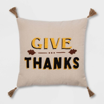 'Give Thanks' Square Throw Pillow