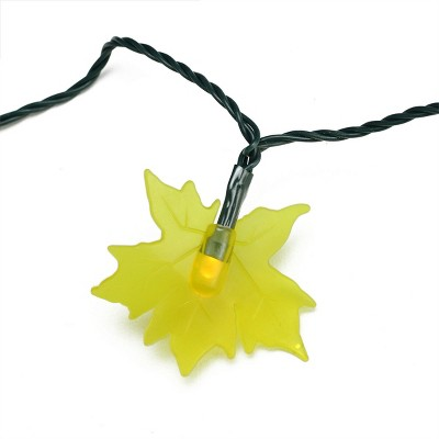 Northlight 10 Yellow Maple Leaf Autumn Fall LED Novelty Thanksgiving Lights - 3.8 ft Green Wire