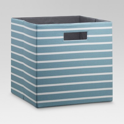 13  Fabric Cube Storage Bin Ancient Aqua Stripe - Threshold™