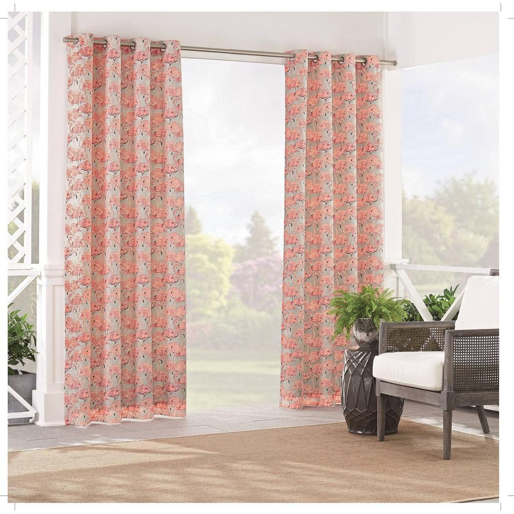 "Image of ""84""""x52"""" Beach Social Light Filtering Curtain Panel Pink - Waverly Sun n Shade"""