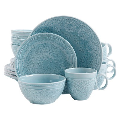 Gibson Alemany 16pc Dinnerware Set Aqua