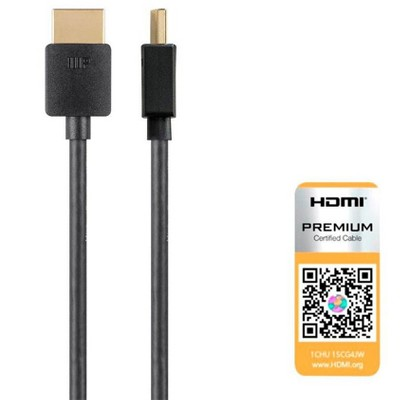 Monoprice High Speed HDMI Cable - 5 Feet - Black| Certified Premium, 4K@60Hz, HDR, 18Gbps, 36AWG, YUV, 4:4:4 - Ultra Slim Series