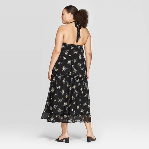 Women\'s Plus Size Floral Print Off the Shoulder Back Drawstring Tiered Maxi  Dress - Who What Wear™ Black