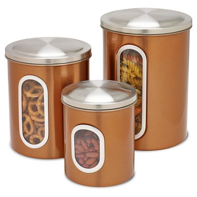 Honey Can Do® 3pc Stainless Steel Storage Canister Set - Copper