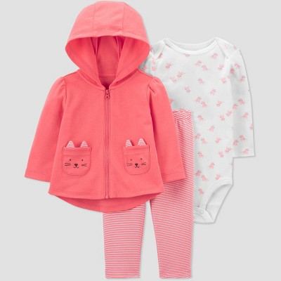 Baby Girls' Cat Long Sleeve Top & Bottom Set - Just One You® made by carter's Coral 3M