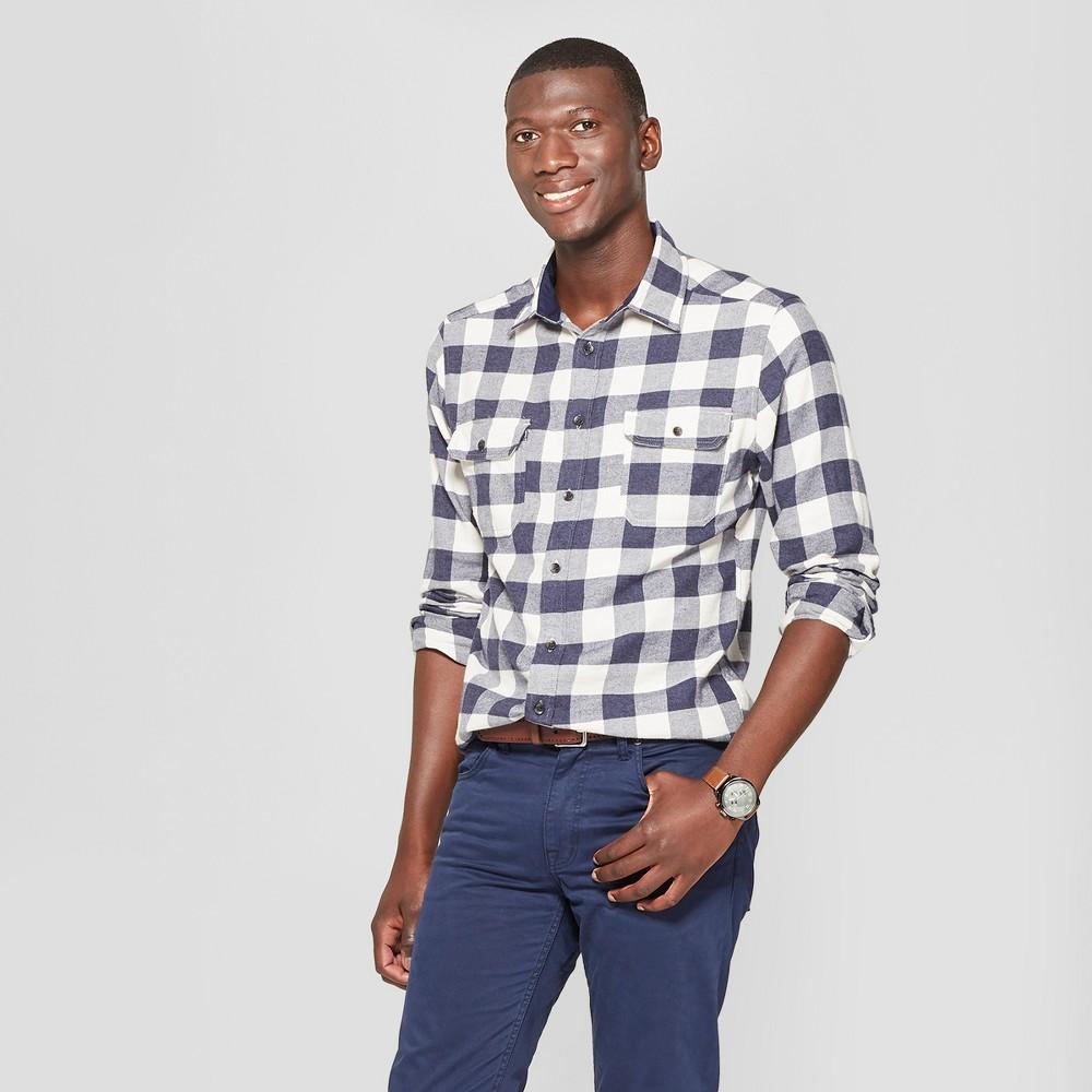 Best Sale Men Checkered Standard Fit Long Sleeve Flannel Button Down Shirt Goodfellow Co White S