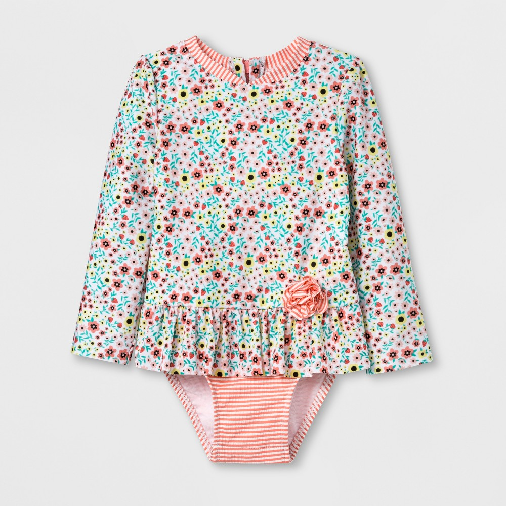 Toddler Girls' Zip Rash Guard One Piece Swimsuit - Cat & Jack Pink 6X