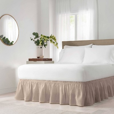 """Tan Wrap Around Solid Ruffled Bed Skirt (Queen/King)(80"""" X 60"""")- EasyFit"""