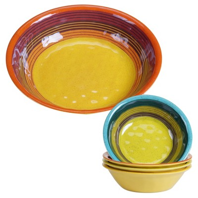 Certified International® Sedona by Nancy Green Round Melamine Set of 5 Serving Bowls Set Yellow