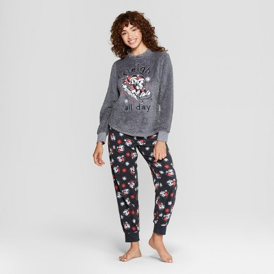 21803fdd45 Women s Disney Mickey Mouse   Friends Holiday Cozy Pajama Set - Charcoal    Target