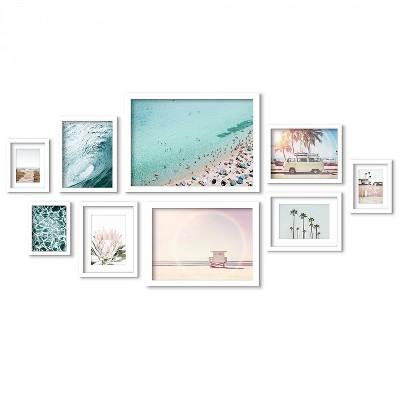Americanflat Coastal Beach Views - 9 Piece Framed Gallery Wall Art Set