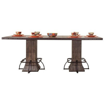 Jennings Wood and Metal Rectangle Counter Height Dining Table with Wood Pedestal Base Distressed Walnut - Hillsdale Furniture