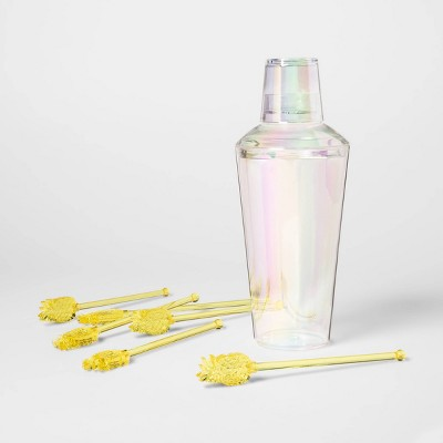 28oz Plastic Iridescent Cocktail Shaker with Pineapple Stir Sticks - Sun Squad™