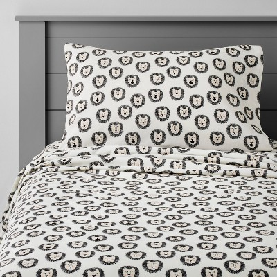 Lions Cotton Sheet Set Black & White - Pillowfort™