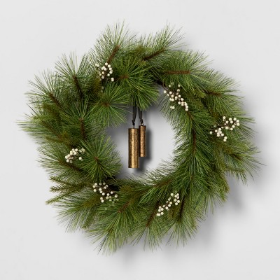 Wreath White Berry Pine Needle with Bell - Hearth & Hand™ with Magnolia