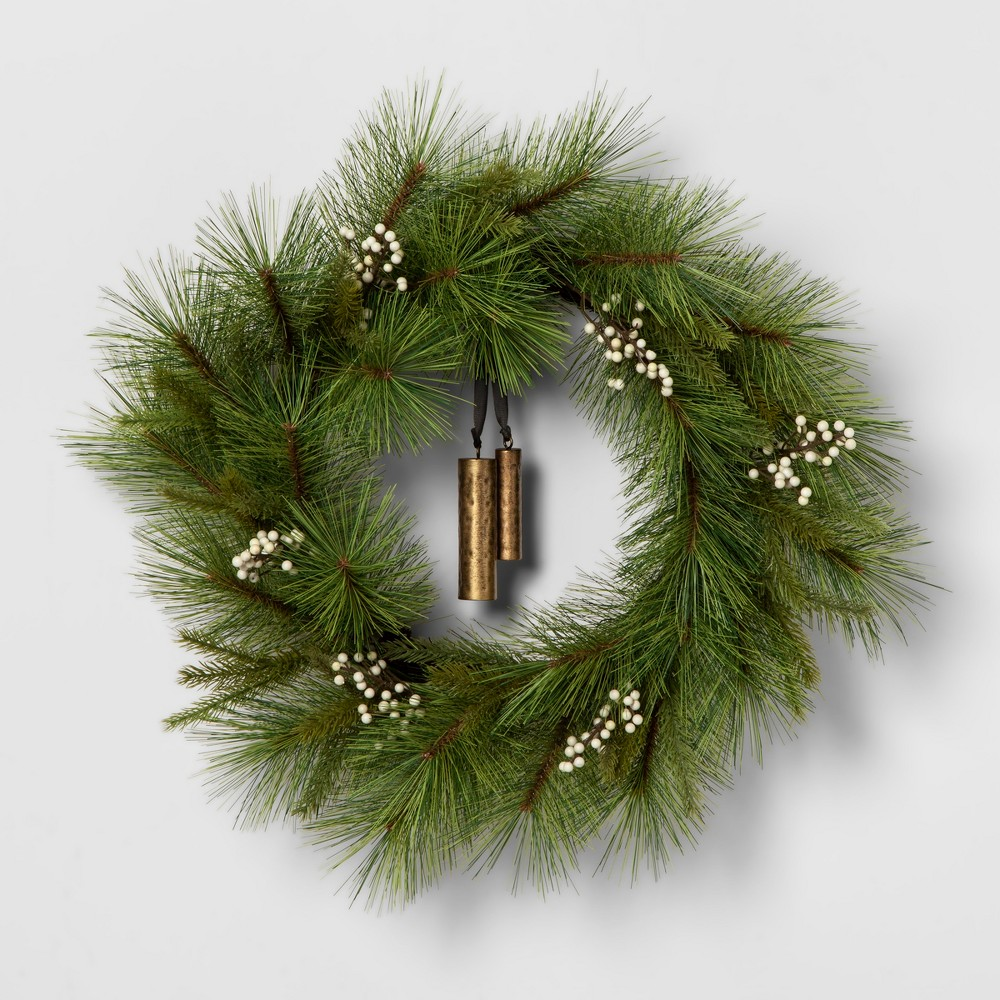 Wreath White Berry Pine Needle with Bell - Hearth & Hand with Magnolia, Green