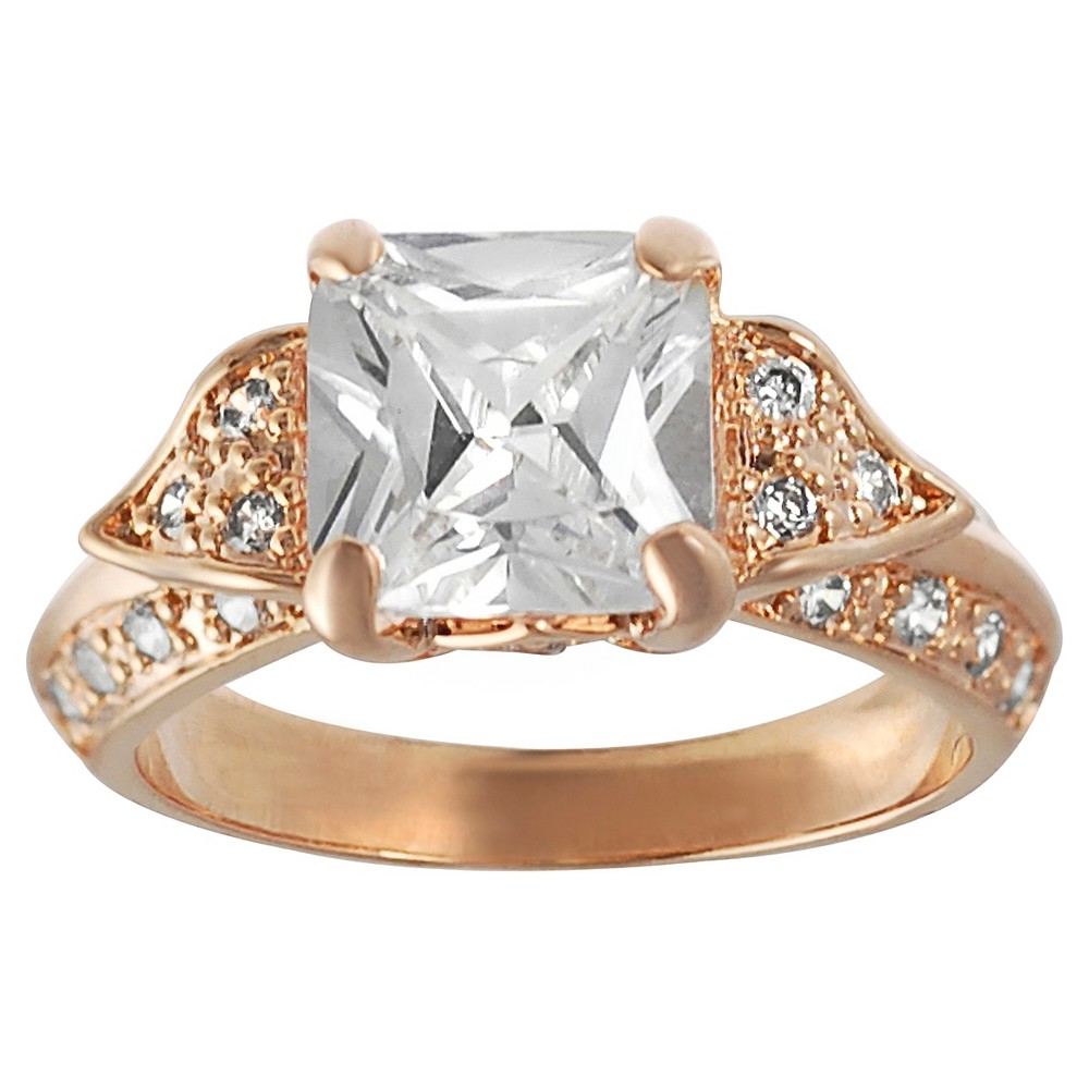 2 1/2 CT. T.W. Princess-cut CZ Prong Set Engagement Ring in Rose Gold-plated Sterling Silver - Rose, 9, Girl's, Rose Gold