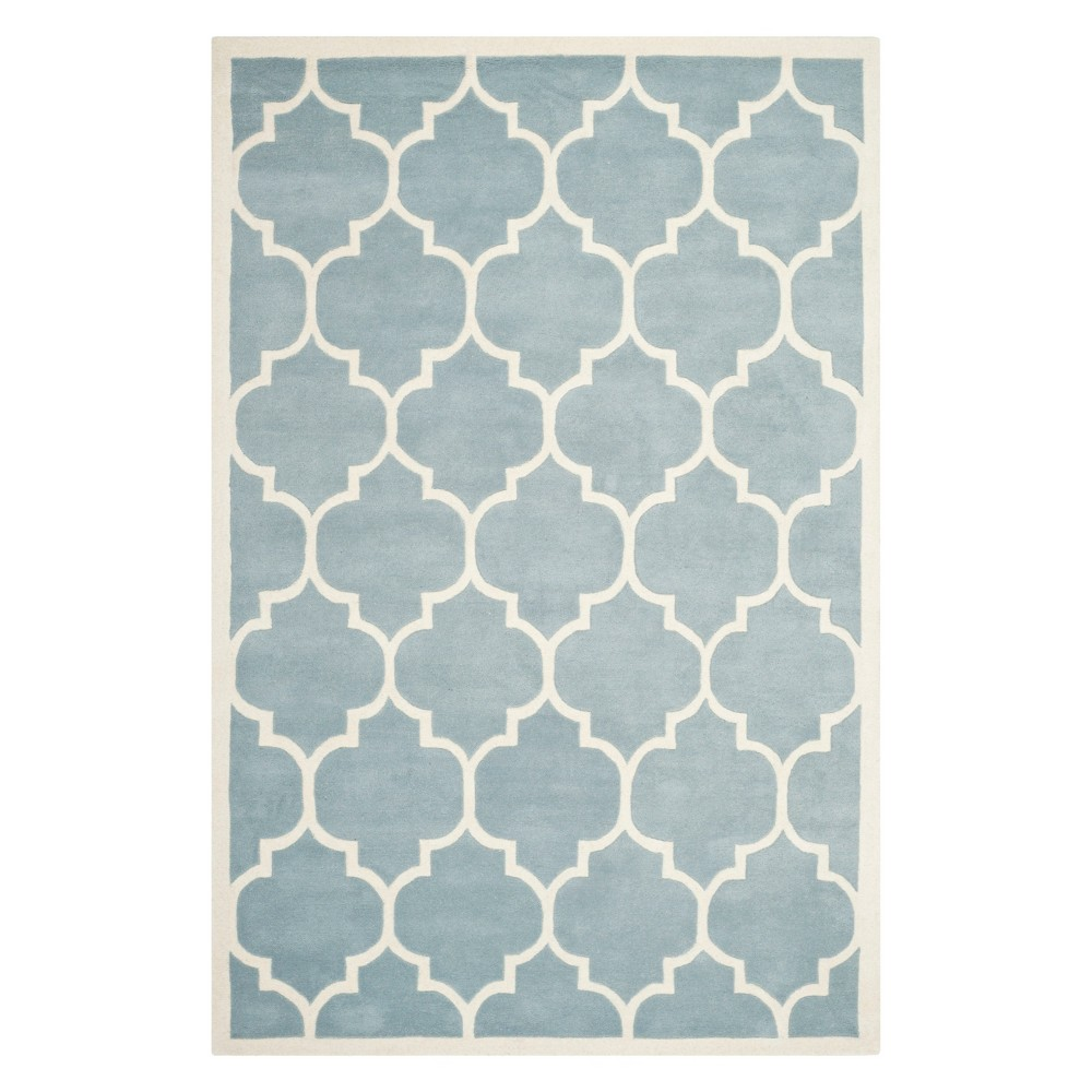5'X8' Quatrefoil Design Tufted Area Rug Blue/Ivory - Safavieh