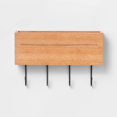 Beechwood Wall Storage with Hooks - Threshold™