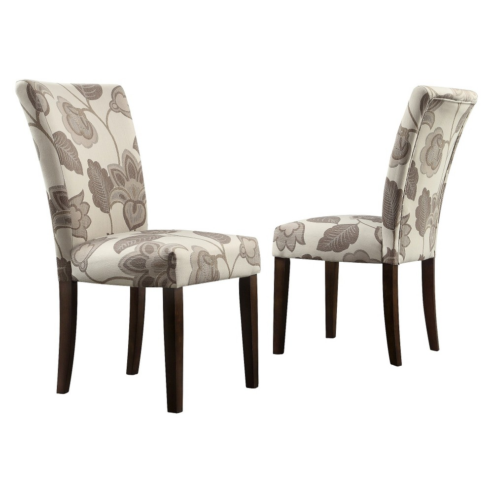 Quinby Parson Floral Dining Chair Wood/Gray (Set of 2) - Inspire Q