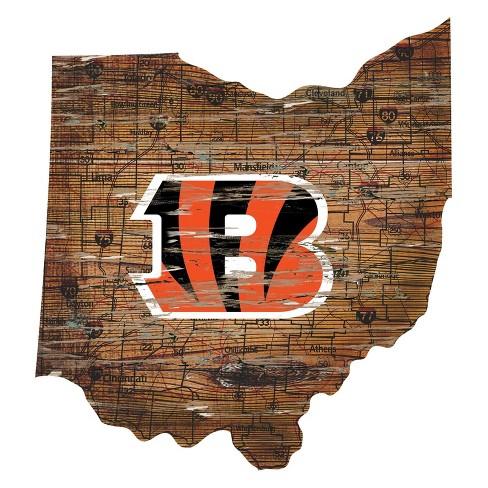 "NFL Cincinnati Bengals 12"" State Map Wood Sign - image 1 of 1"