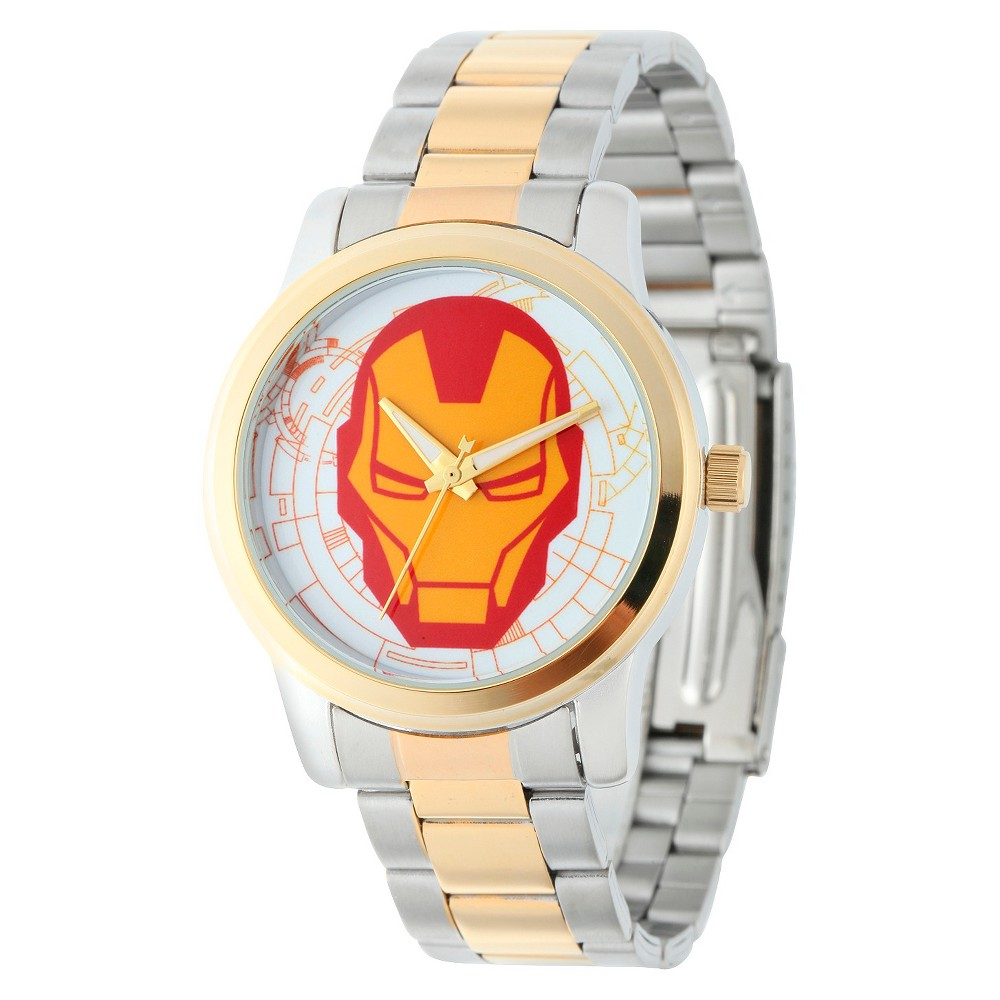 Men's Marvel Iron Man Casual Alloy Watch - Two-Tone, Multi-Colored