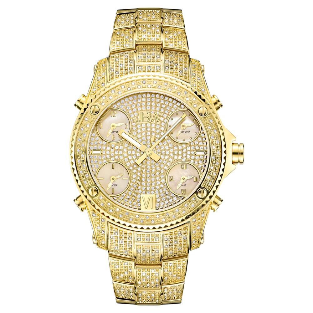 Image of Men's JBW JB-6213-A Jet Setter Multi-Time Zone Swiss Movement Real Diamond Watch - Gold, Men's, Size: Small