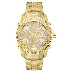 Men's JBW® JB-6213-A Jet Setter Multi-Time Zone Swiss Movement Real Diamond Watch - Gold
