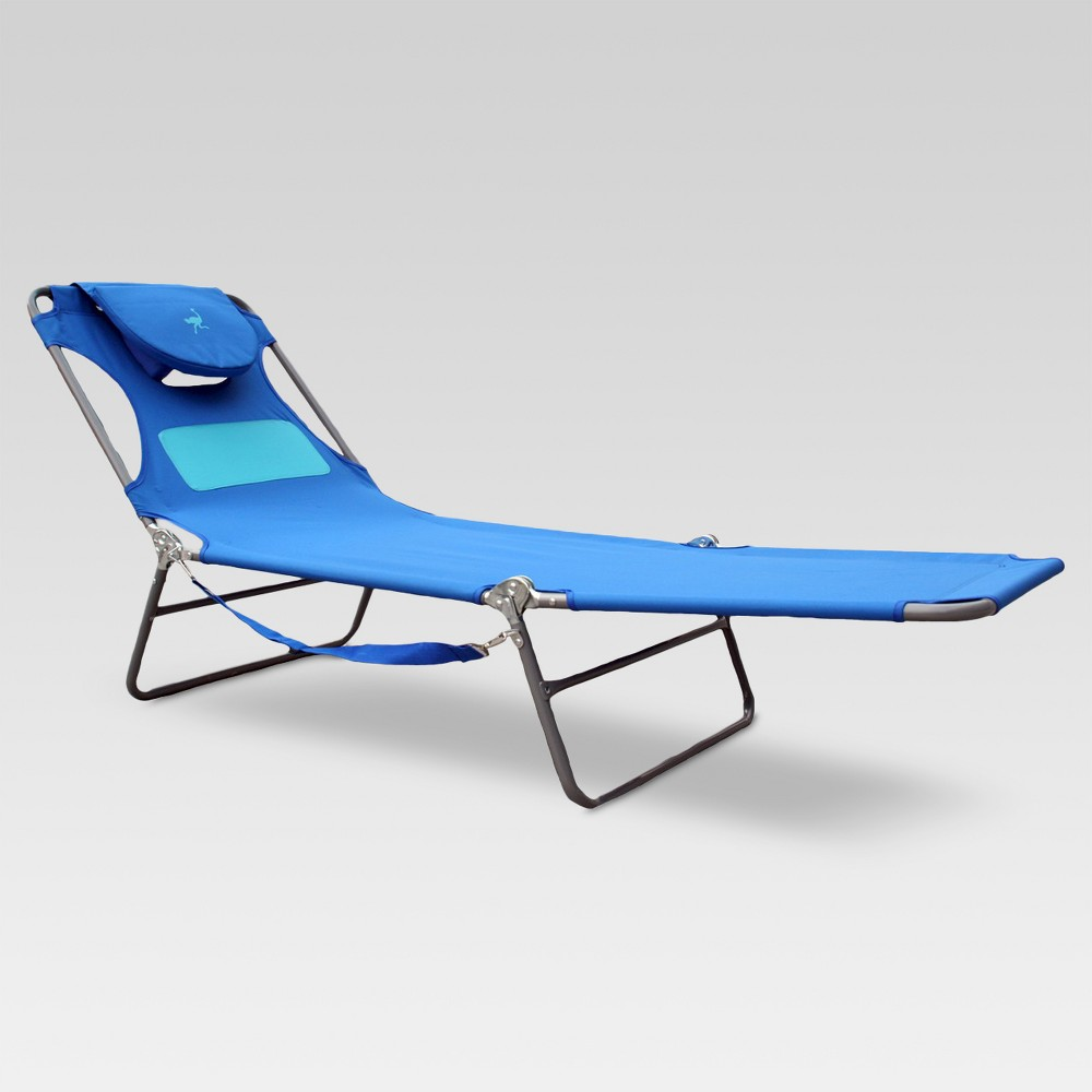 Image of Ladies Ostrich Beach Lounger with Ladies Comfort Pouch Blue - Deltess