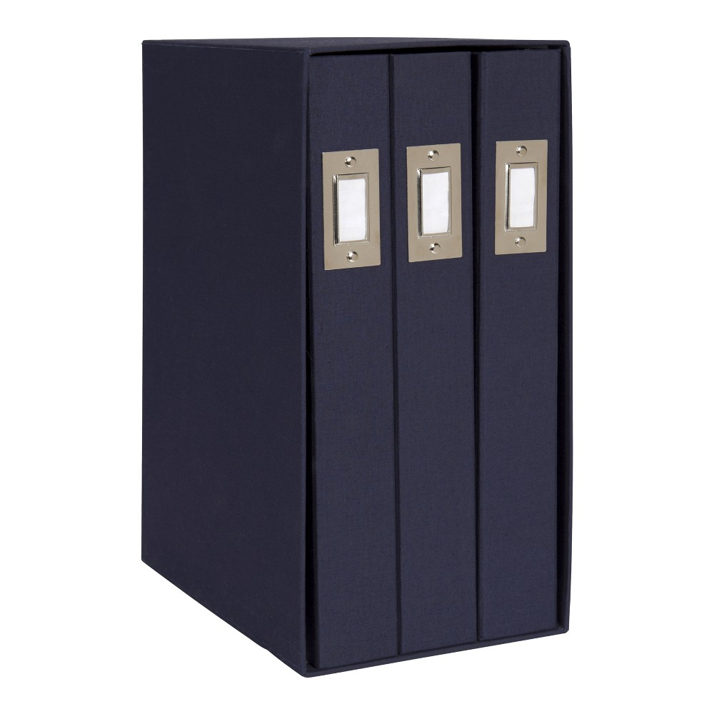 Image of Set of 3 Cydney Fabric Photo Albums In Display Box Navy Blue - Designovation