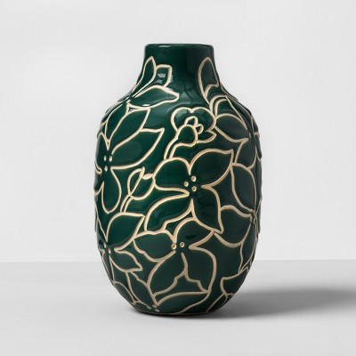 Floral Earthenware Vase - Green - Opalhouse™