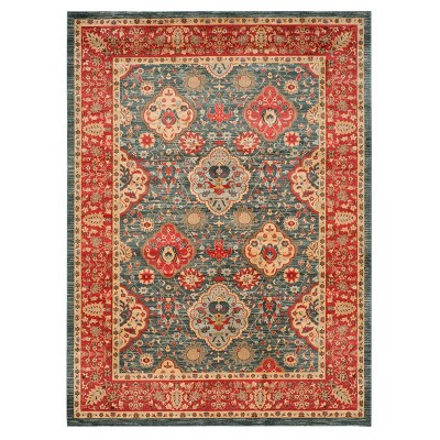 Navy/Red Floral Loomed Area Rug 8'X10' - Safavieh
