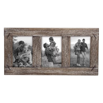 4 x 6 inch Decorative Distressed Wood Picture Frame with Nail Accents - Holds 3 4x6 Photos - Foreside Home & Garden