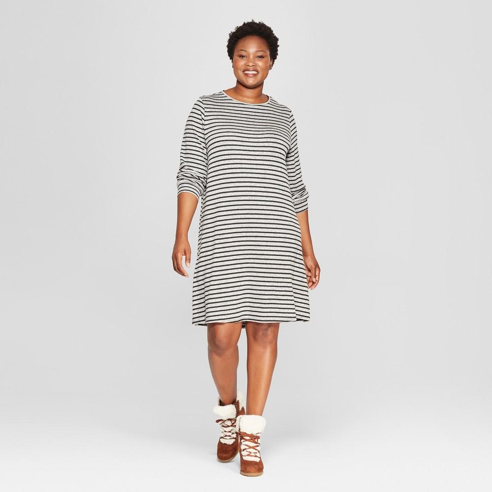 Women's Plus Size Striped Crew Neck Knit Dress - Ava & Viv Heather Gray/Black 2X