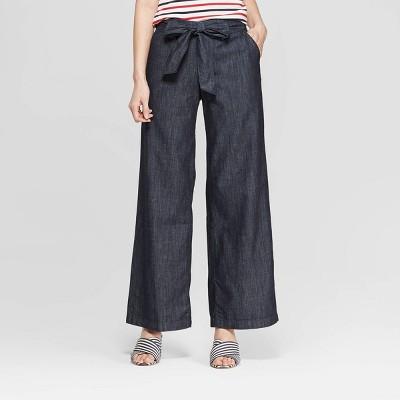 Women's Regular Fit Wide Leg Belted Denim Trouser - A New Day™ Indigo 2
