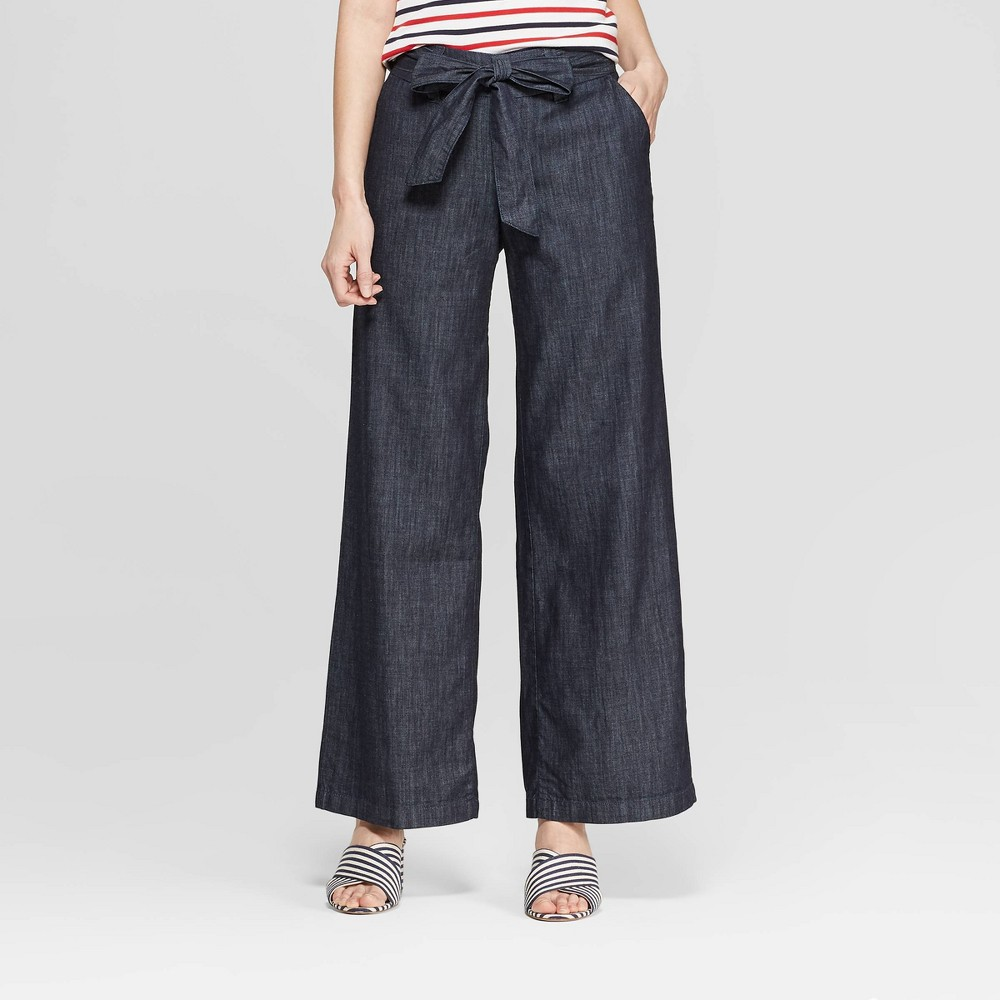 Women's Regular Fit Wide Leg Belted Denim Trouser - A New Day Indigo 2, Blue