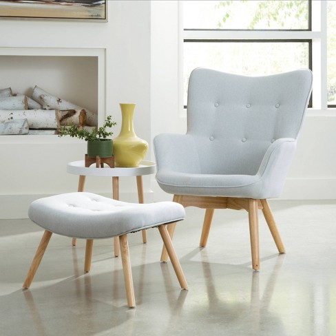 Fine 2Pc Tufted Fabric Mid Century Modern Lounge Chair With Ottoman Solid Honey Beechwood Legs Light Gray Ofm Alphanode Cool Chair Designs And Ideas Alphanodeonline