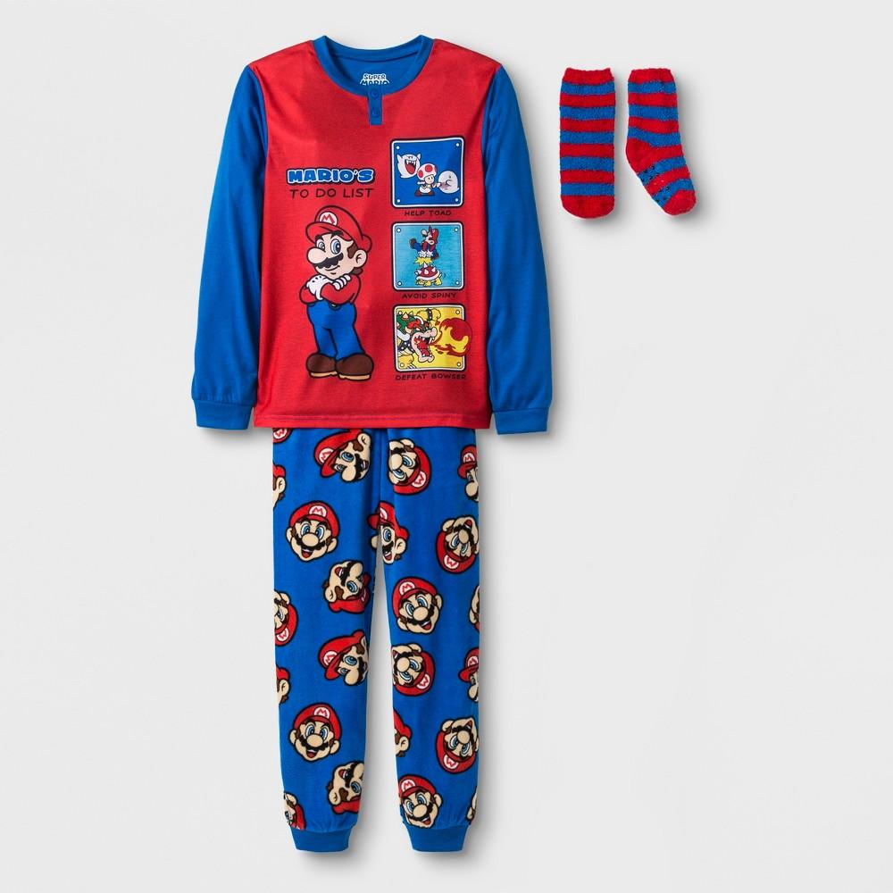 Boys' Nintendo 2pc Pajama Set with Sock - Blue/Red S